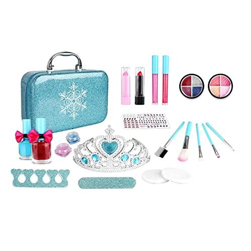 Set de maquillaje para niños, 22 piezas, lavable, para niñas, más de 4 años de edad, con diseño de copo de nieve azul hielo, maletín con diseño de princesa congelada