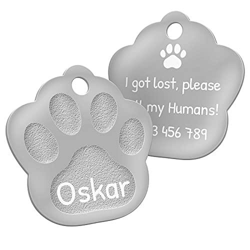 ENGRAVO Hundemarke Pfote in Silber 33mm mit Deiner persönlichen Gravur und 2 Schlüsselringe