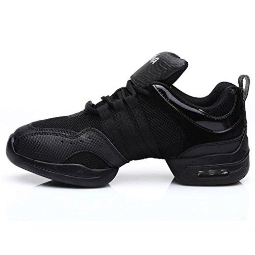 SWDZM mujeres zapatos de baile moderno/hip-hop zapatos de jazz/deportivo zapatillas de deporte/zapatos al aire libre ES-B56 negro 39 EU