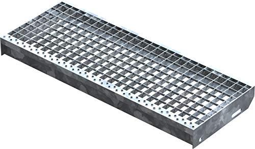 Fenau | Gitterrost-Stufe (R11) XSL – Maße: 800 x 305 mm, MW: 30/30 mm, Vollbad-Feuerverzinkt, Stahl-Treppenstufe nach DIN-Norm, Fluchttreppen geeignet, Anti-Rutsch-Wirkung
