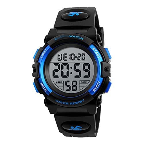 DSJMUY Reloj Niño,Reloj Digital para Niños,Deportivos Led 5atm Impermeable Alarma Calendario Multifunción Cronógrafo Reloj De Pulsera para Niños Rojo Negro
