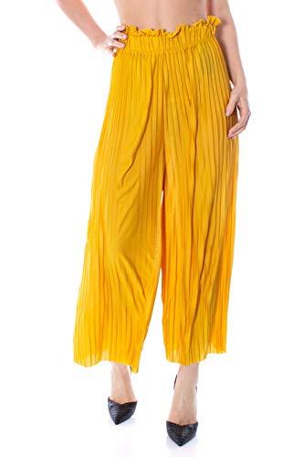 Pantalones anchos amarillos de tejido ligero para mujer