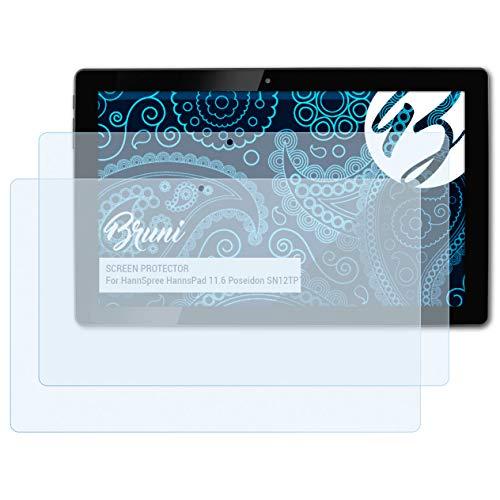 Bruni Schutzfolie kompatibel mit HannSpree HannsPad 11.6 Poseidon SN12TP1B Folie, glasklare Bildschirmschutzfolie (2X)