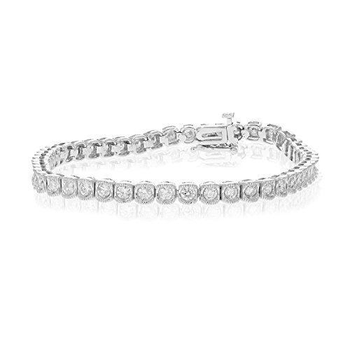 2 cttw SI1SI2 Certified Classic Diamond Bracelet 14K White Gold Tennis 7 Inches