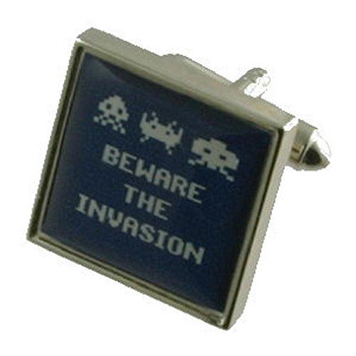 Invasion Space Invaders fantaisie Boutons de manchette pour homme en argent sterling 925 massif Boutons de manchette + Boîte de message gravé personna