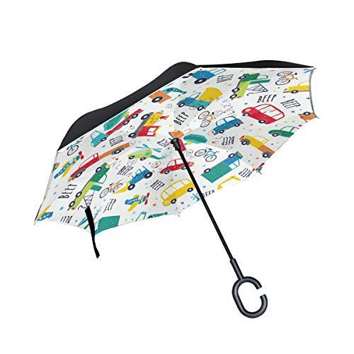 ALINLO Paraguas invertido de dibujos animados para transporte de autobús con patrón de bicicletas, paraguas reversible de doble capa impermeable para coche, lluvia al aire libre, con mango en forma de C