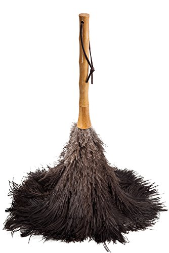 Avian Ostrich Feather Duster, 18.5 inches, Black with Bamboo Handle