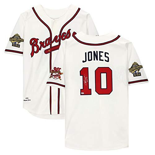 CHIPPER JONES Autographed/Inscribed'HOF 18' Atlanta Braves White Mitchell & Jess Authentic Jersey FANATICS