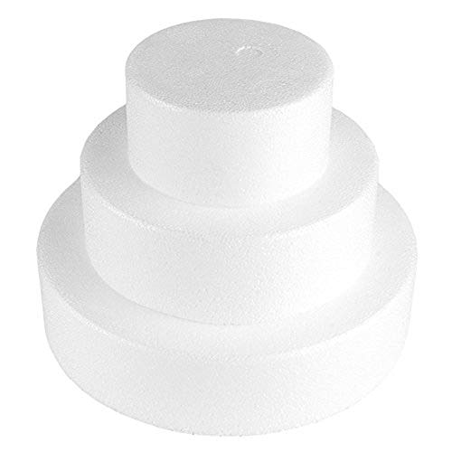 Fablcrew - 3 Piezas montadas de poliestireno de diámetro 20 cm, 15 cm y 10 cm, para Regalo Creativo para Caramelos, decoración, Pasteles y Bricolaje