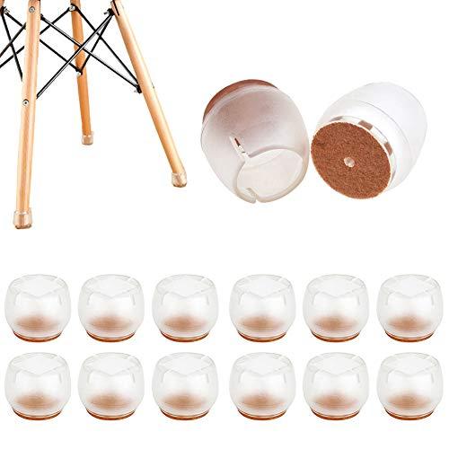 HOTSO Gamba della Sedia Caps Trasparente Rotondo Piedini per sedie in Silicone con Cuscinetti in Feltro Anti-graffio Silicone Piedini protettivi per Gambe della Sedia, Rotonda, 12PCS 21-25mm