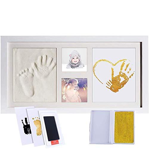 Kit de marco de fotos con huella de mano de bebé para bebé recién nacido, marco de madera original, papel de impresión y almohadilla de tinta Clean Touch