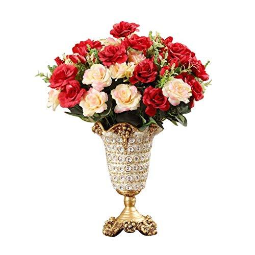 ZXL Natuurlijke hars diamanten vaas voor bloempot met hoge poten, Europese stijl woonaccessoires, luxe, voor salontafel of als geschenk, wit en goud, 26,5 cm