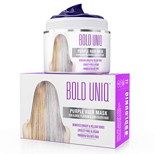 Purple Hair Mask for Blonde, Platinum and Silver Hair: BOLD UNIQ by B Uniq Blue Masque to Reduce...