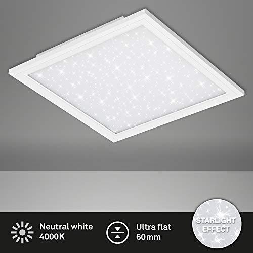 Briloner Leuchten LED Panel, Deckenlampe inkl. Sternendekor, 4.100 Lumen, 4.000 Kelvin, 38 Watt, Weiß, 595x595x60mm (LxBxH)