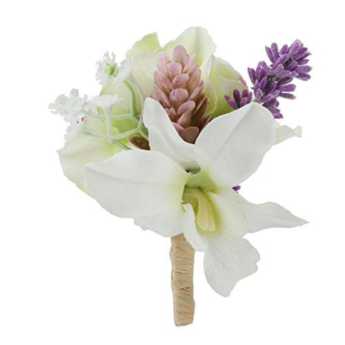 Artificial Ramillete Broche De Flores Para Los Accesorios De La Boda Del Novio De Novia