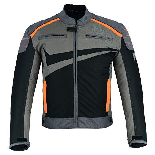Jet Motorradjacke Motoradkleidung Rollerjacke Mopedjacke Herren Mit Sommer Protektoren Textil Leichtbau Belüftung Basic ESSENTIALS (M (EU 48-50), Grau Orange)