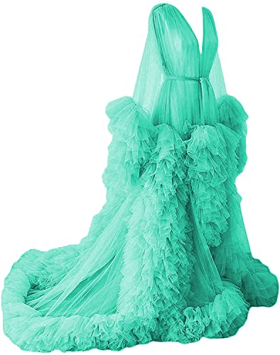Women's Tulle Perspective Maternity Dress for Photoshoot Long Puffy Sleeve Bridal Robe Luxury Nightgown Teal Size 20