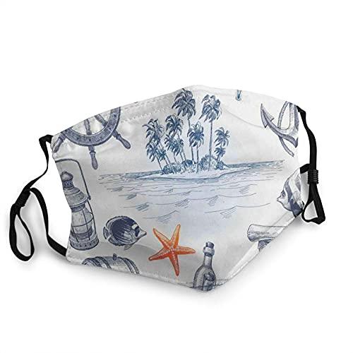 YRUI Máscara decorativa facial y reutilizable, cálida, resistente al viento, para exteriores, con botella de ancla y mapa de vacaciones náuticas con isla tropical, 1 unidad