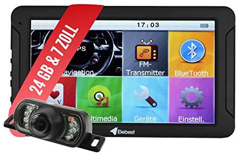 Elebest City 70K Navigationsgerät PKW, LKW, Wohmobil - Großes 7 Zoll (17,8 cm) Touchscreen HD Display - 24 GB, Fahrspurassistent, Bluetooth - Radarwarner, EU Karte, 3D Navi, Funk-Rückfahrkamera
