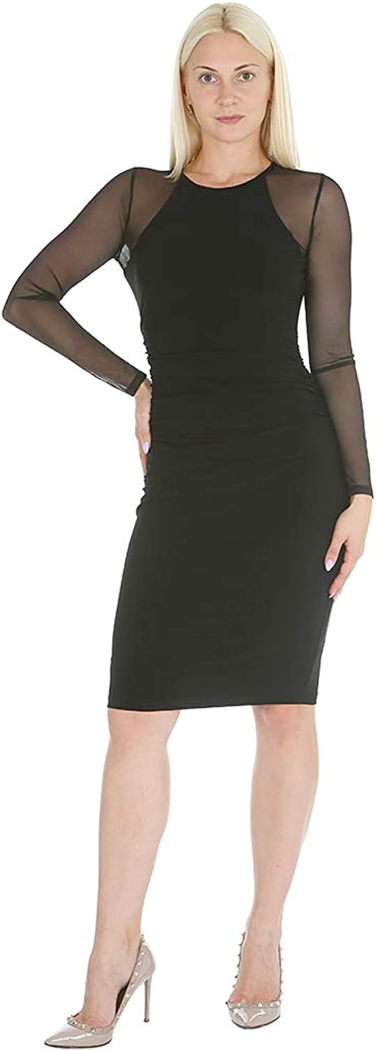 Bebe Women's Long Sleeve Bodycon Sheath Dress Shirring Details & Power Mesh Sleeves