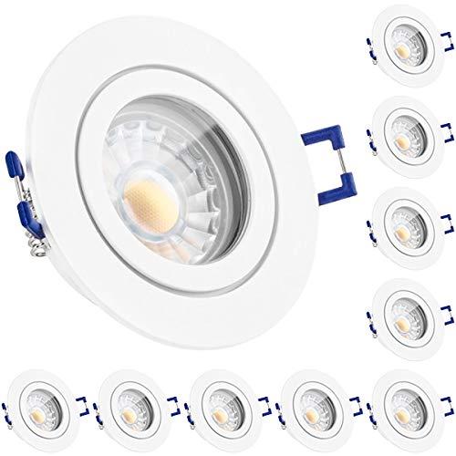 10er IP44 LED Einbaustrahler Set Weiß matt mit COB LED GU10 Markenstrahler von LEDANDO - 5W DIMMBAR - warmweiss - 40° Abstrahlwinkel - Feuchtraum / Badezimmer - 50W Ersatz - A+ - COB LED Spot 5 Watt rund