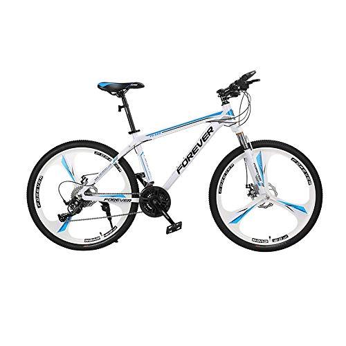 KaiKai Mountainbike 24-Gang-Doppelscheibenbremse 24/26 inche Räder Federgabel Männer Gebirgsfahrrad (Color : Blue+White, Size : 24inch)