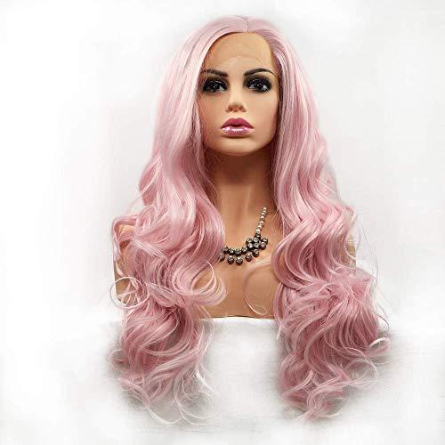 NICEAPR Pelucas Peluca de Pelo Rizado de Pelo Largo Rosa Lady Handmade Lace Europe y Conjunto de Peluca en Conjunto de Peluca