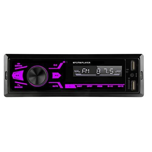 Pantalla Táctil Radio Coche Bluetooth Manos Libres,1 DIN Autoradio Reproductor de MP3 de Coche Apoyo USB/SD/AUX ,Radio FM Estéreo,Radio para Coche con Doble USB,7 Luces de Colores