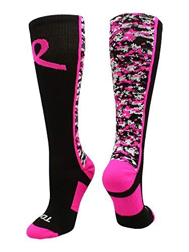 Digital Camo Aware Over the Calf Socks Pink Ribbon Softball Soccer Football