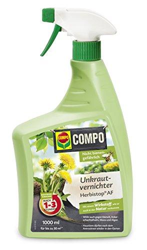 COMPO Bio Unkrautvernichter Herbistop AF, Bekämpfung von ein- und zweiblättrigen Unkräutern, Algen und Moosen, Anwendungsfertige Sprühflasche, 1 Liter