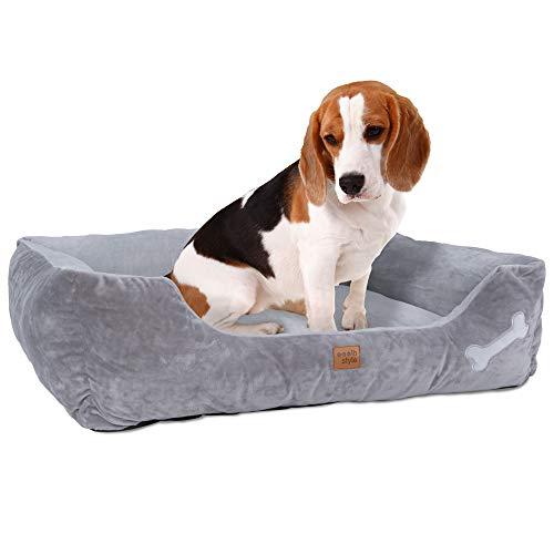 ib style® Happy Buddy Hundebett | Haustierbett für Hunde & Katzen | Anti-Rutsch Unterseite | mit Reißverschluss | 2 Größen | 3 Farben | Grau