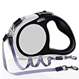 MigooPet [2020 Upgraded] Double Retractable Dog Leash for 2 Dogs Up to 100 lbs 16 ft Walking Coupler Dog Leash Great for Small Medium Dogs - One Locked System, Non Slip Grip, Tangle Free