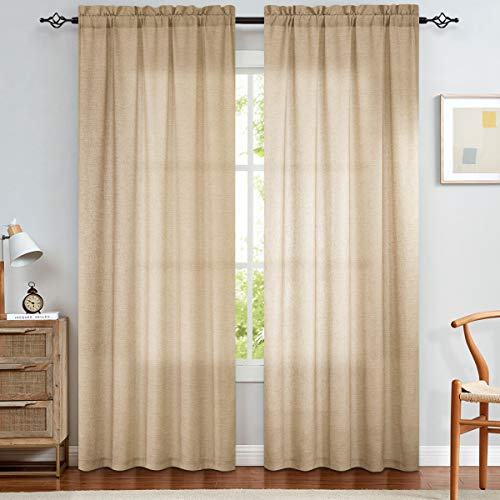 jinchan Linen Textured Curtains for Living Room Rod Pocket Light Filtering Window Treatment Set for Bedroom Drapes Drapery Curtain Dining Room Solid 2 Panels 84 inch Long Taupe