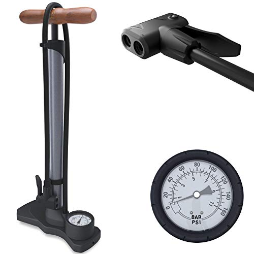 HiLo sports kompakte Luftpumpe Fahrrad - Für alle Ventile mit Dual Kopf - 11 Bar / 160 Psi Manometer - Radpumpe klein mit Holz Griff - Fahrradpumpe, Standpumpe mit Druckanzeige (metallic grau)