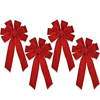 Gift Boutique Red Velvet Christmas Bows Large 26  Long 10 Loop 4 Pack for Indoor & Outdoor Wreaths Garland Holiday Tree Decorations