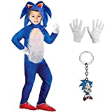 MOCCO Niñas Niños DisfrazCosplay Sonic Hedgehog Jumpsuit +