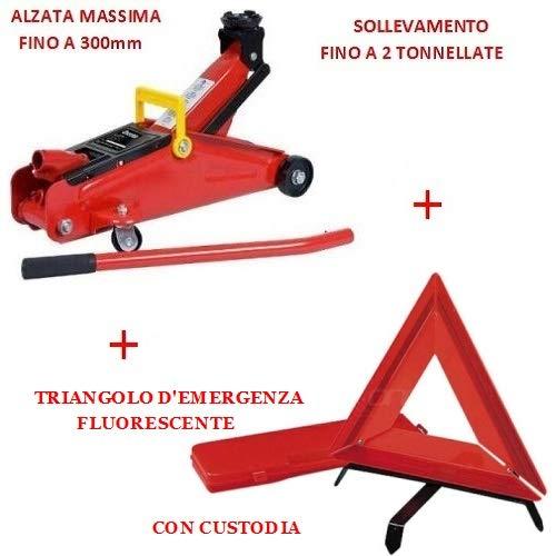 Compatible con Ferrari Gato HIDRÁULICO con Carro TRIÁNGULO DE Emergencia Fluorescente + Kit SUMINISTRADO Maleta para Asistencia EN Carretera APROBADA por Coche