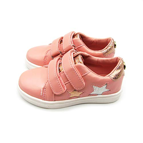 Nicole Miller New York Baby Pink Glitter Stars Double Strap Sneaker (Toddler) Size 8 M US 3.5 Years