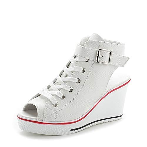 Dorical Damen Canvas Sportschuhe Sneaker Turnschuhe Laufschuhe mit Keilabsatz Bequeme Schnalle Fischmaul Sandalen Größe 35-43 Reduziert(Weiß,42 EU)