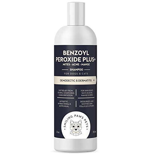 Advanced+ Benzoyl Peroxide Flea Shampoo for Dogs and Cats - Dermatitis and Demodectic Mange Treatment for Dogs, Dandruff, Demodex, Seborrhea, Pyoderma, Mites & Acne. Itch Relief formula - 12oz