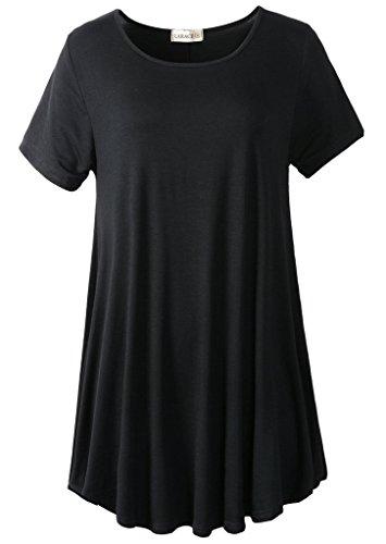 LARACE Women Short Sleeves Flare Tunic Tops for Leggings Flowy Shirt (3X, Black)