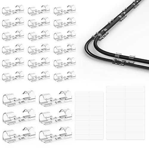 RONGXI 36 pezzi Clip per Cavi Adesivo Fermacavi Supporto per cavo per cavi di alimentazione e cavi per accessori di ricarica, cavo per mouse, PC, uffi
