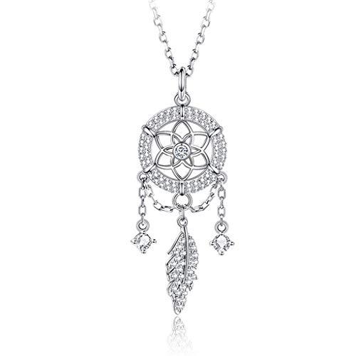 OMING Collares Colector Ideal Colgante de Plata de Ley 925 Collar Femenino clavícula Cadena de Collar de Regalo Temperamento Colgantes de Mujer