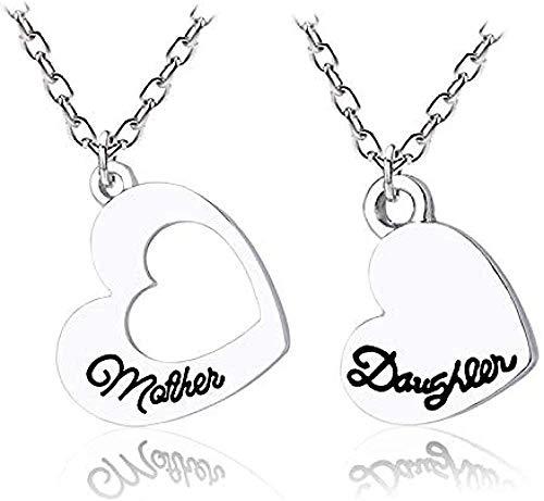 UAGXFC Collar 2 Piezas/Juego Collar de Escritura Madre E Hija para Mujeres Niñas Cavando Collares de Corazón con Colgante Día de la Madre Enviar Regalos Mamá