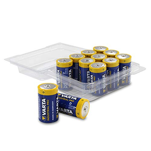 Varta 4020 Mono/D/LR20/MN1300 Industrial PRO Alkaline Batterien in Wiederverschließbarer Box von WEISS - more power + [12er-Pack]