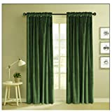 Classic Velvet Mossy Green Set of 2 Blackout Rod Pocket Drapes Room Darkening Curtains Panel Rod Pocket Drapery 52 by 84-Inch (2 Panels) Rod Pocket