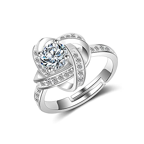 Anillo ZIYUYANG, corona de plata esterlina para mujer, joyería nupcial para boda, anillo ajustable abierto de moda