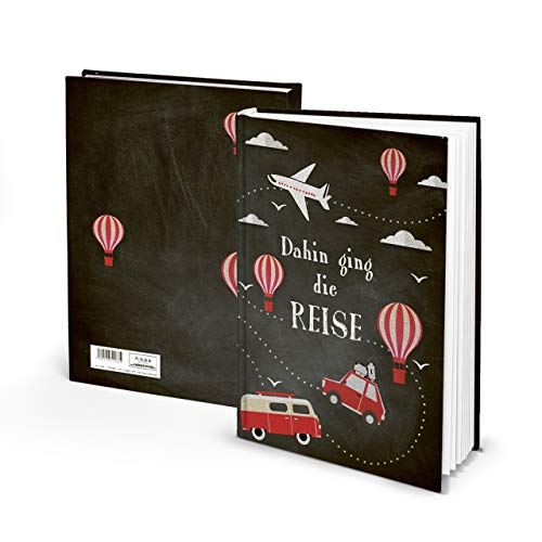 Reisboek, reisdagboek, dagboek, reizen, vakantie, groot, zwart, rood, wit, DIN A4, krijt, camping, reisboek, vakantieboek, 164 pagina's HARDCOVER, notitieboek om zelf te schrijven,