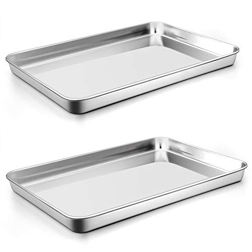 """P&P CHEF Baking Cookie Sheet Set of 2, Stainless Steel Baking Sheets Pan Oven Tray, Rectangle 16""""x12""""x1"""", Non Toxic & Durable Use, Mirror Finished & Easy Clean"""