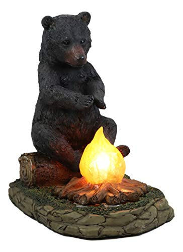 Ebros Whimsical Rustic Forest Black Bear Warming Hands by Campfire LED Night Light Statue 10' High...